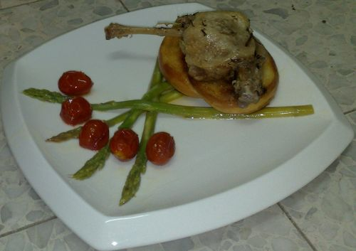 Braised duck over fried bread, mustard poached asparagus and roasted cherry tomatos