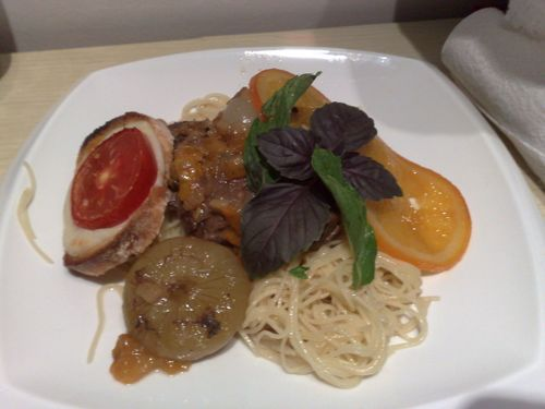Veal osso-buco, confit oranges, braised cippolini, tomato-mozz toast, mint-purple basil over spaghet