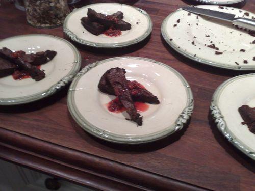 Nico's grandmother's chocolate cake with rasberry-vodka sauce