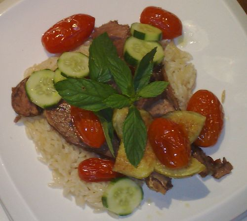 Sirloin roasted like a brisket, orzo, roasted tomatoes, lightly pickled cucumbers and mint.
