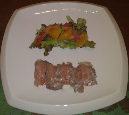Flanksteak over asian potato gratin, critrus salad with two curry sauces